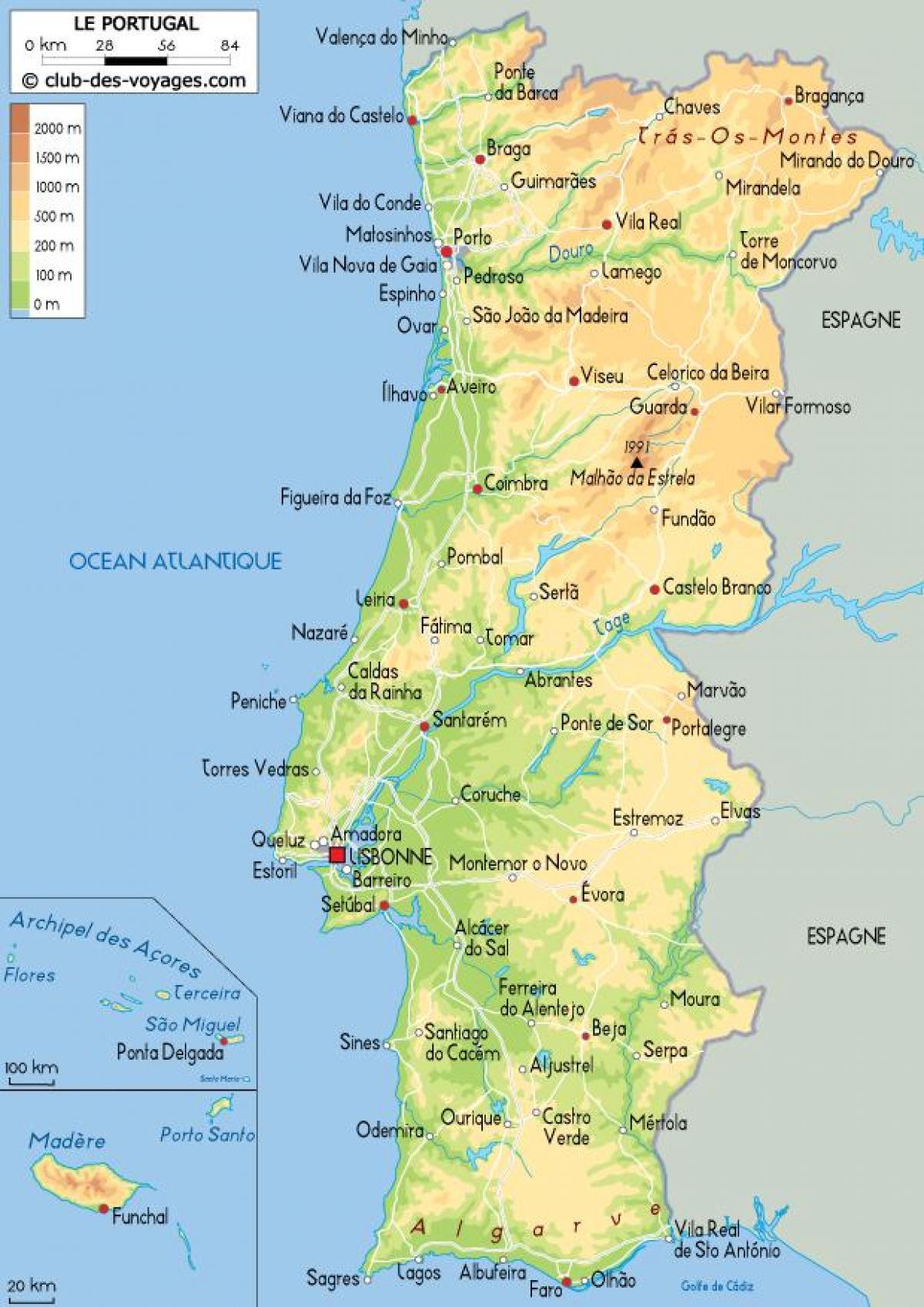 Kaart Van Portugal Gedetailleerde Kaart Van Portugal Zuid